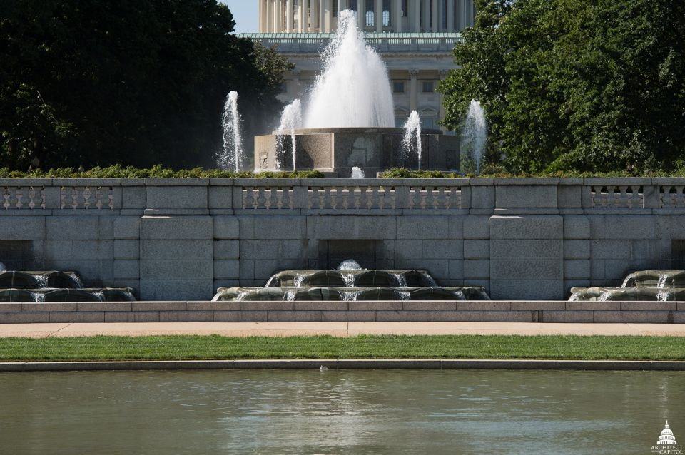 There is a 30,000-gallon concrete surge tank under the terrace of the Senate Fountain.