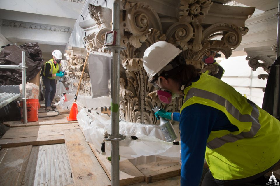 Conservators consolidate the stone, strengthening it against the elements.