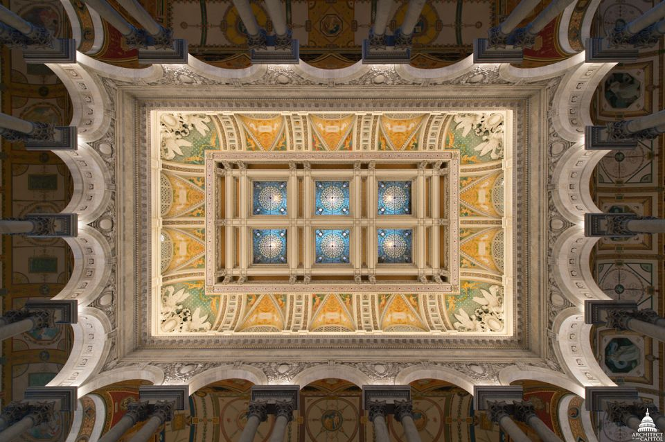 Looking up at the laylights of the Library of Congress Thomas Jefferson Building Great Hall.