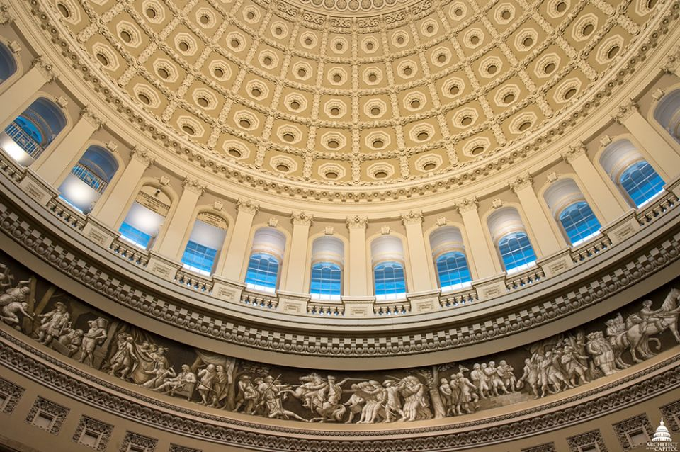 Looking up in the U.S. Capitol Rotunda.