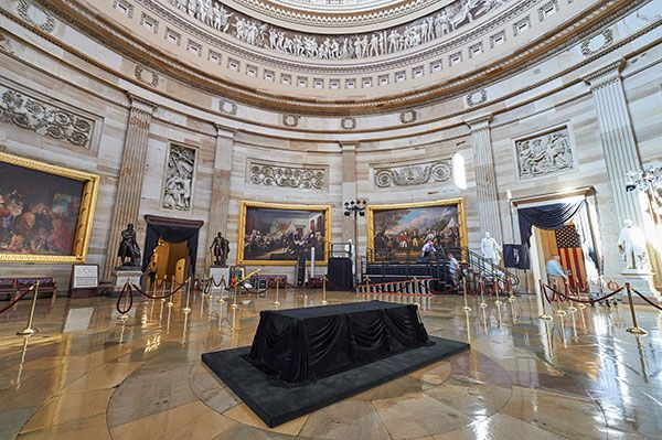 The Lincoln catafalque displayed in the U.S. Capitol Rotunda.