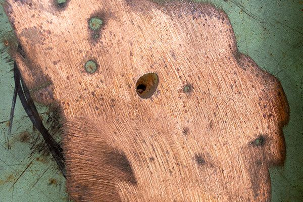 Copper roofing thins over time can lead to holes.