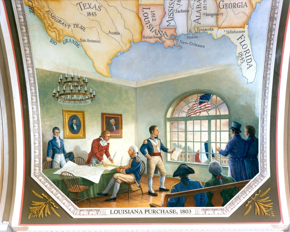 Picture of the Louisiana Purchase, 1803 mural from the U.S. Capitol's Cox Corridors.