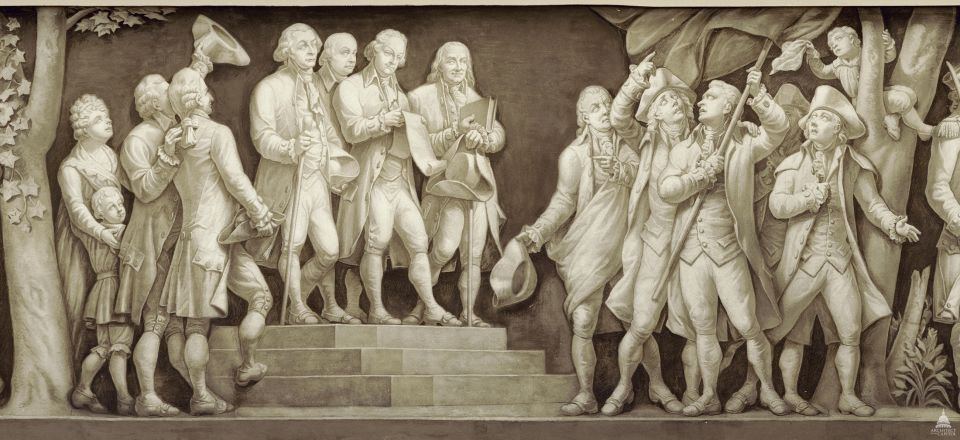 Featured in the Capitol Rotunda's frieze, the principal authors of the Declaration of Independence, John Adams, Thomas Jefferson and Benjamin Franklin, read the document to colonists in 1776.