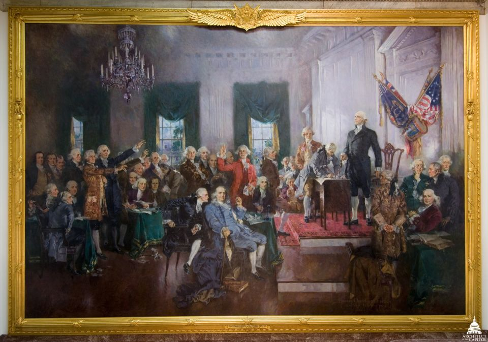 Christy's depiction of the signing of the United States Constitution is an oil-on-canvas painting.