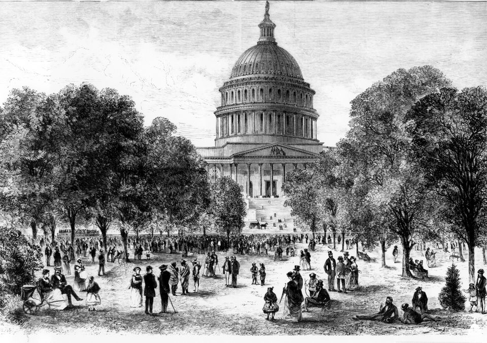 Music Evening at the Capitol Grounds, Washington, D.C., from Harper's Weekly July 23, 1870.