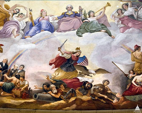Constantino Brumidi, War detail from the Apotheosis of Washington, 1865.