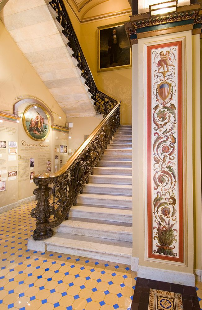 View of one of the bronze staircases in the Brumidi Corridors.