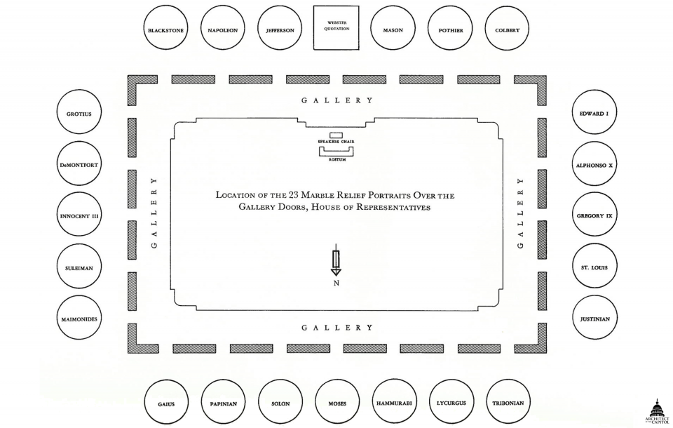 Map of portraits in the House Chamber.