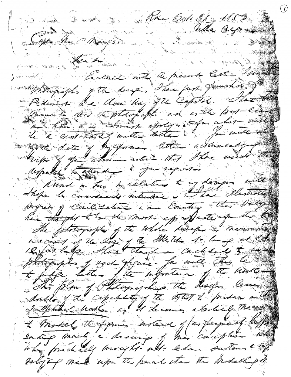 First page of the letter Thomas Crawford wrote to Captain Montgomery Meigs about the pediment.