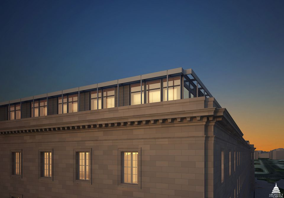 Rendering of the completed Cannon House Office Building fifth floor.