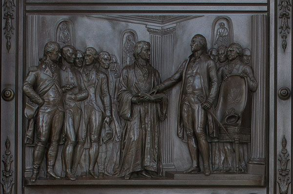 Panel from the U.S. Capitol Senate Bronze Doors depicting the 1789 Inauguration of George Washington as First President.