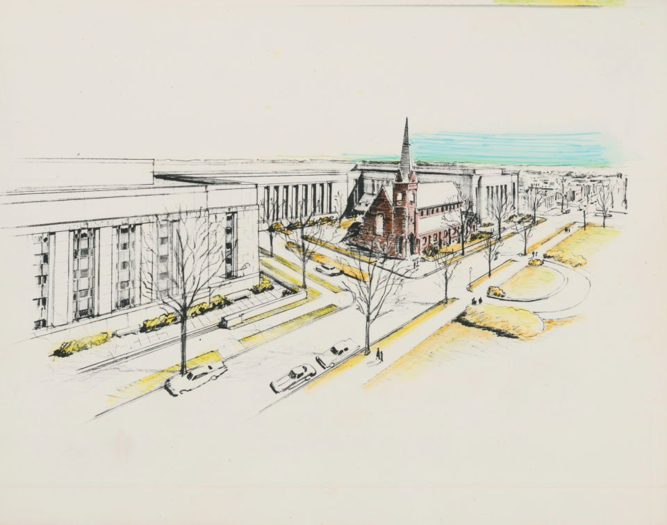 One original plan for the Madison Building had it in another location, wrapped around a historic church.