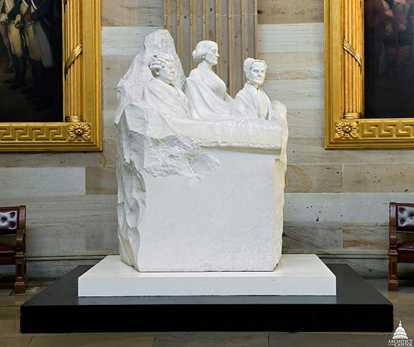 Adelaide Johnson, Portrait Monument to Lucretia Mott, Elizabeth Cady Stanton, and Susan B. Anthony, placed 1921.