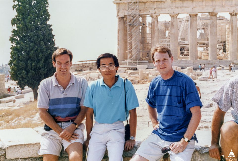 Stephen Ayers (left) in 1993 on the Acropolis with two of his colleagues at the time.