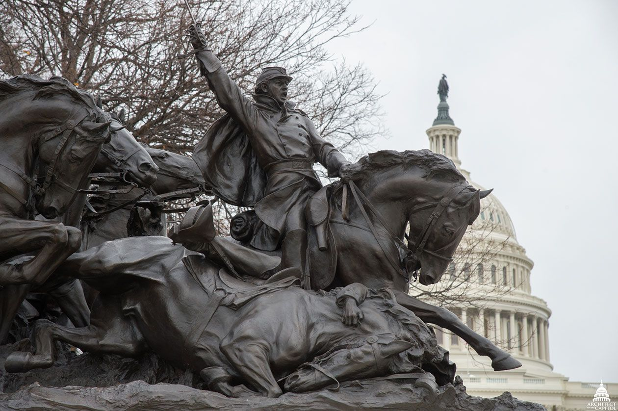 Part of the Grant Memorial in front of the U.S. Capitol Dome in Washington, D.C.