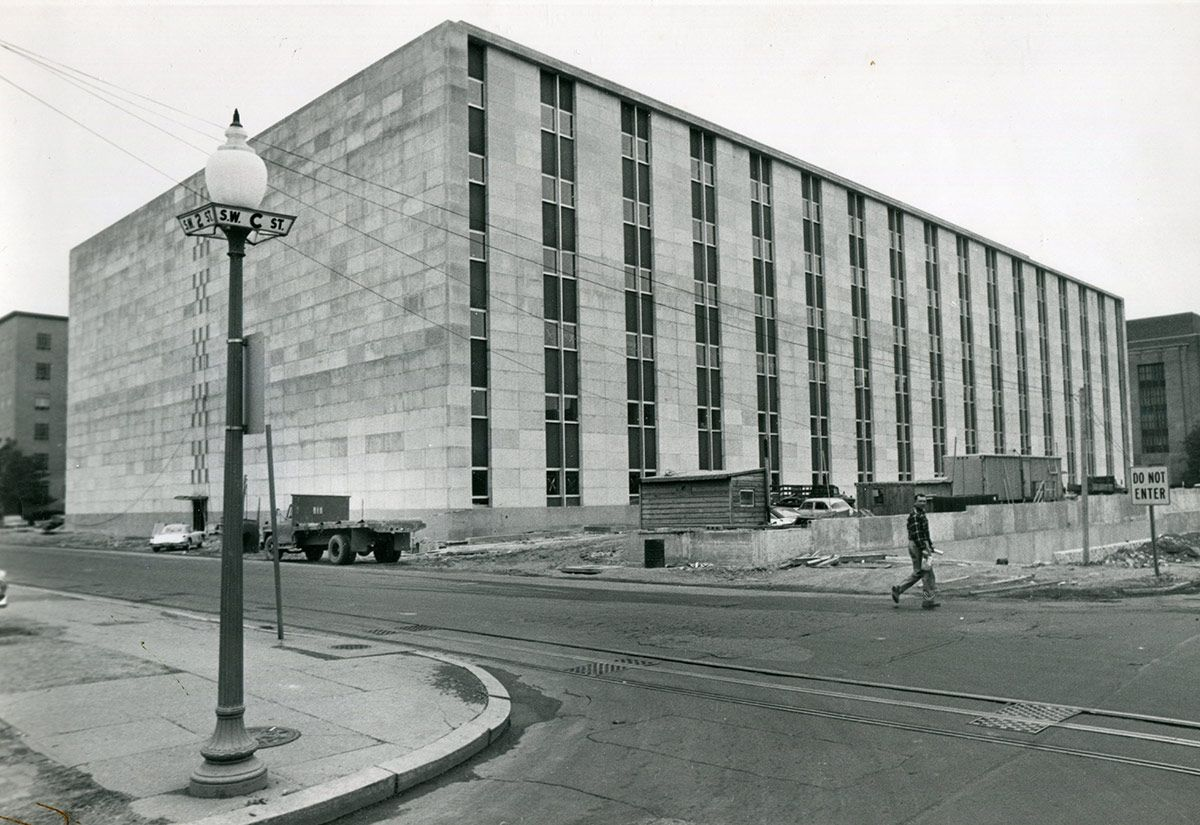 Federal Office Building No. 8, now known as the O'Neill House Office Building, under original construction. Photo courtesy of the FDA.
