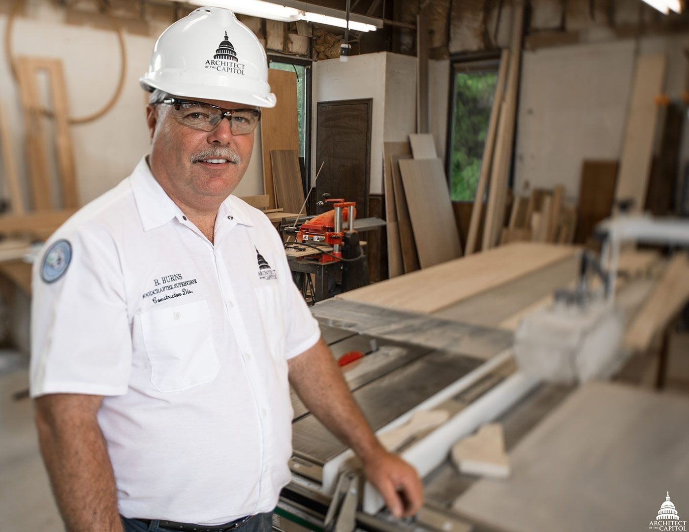 Bill Burns, an Architect of the Capitol Woodcrafter Supervisor in the Planning and Project Management's Construction Division.