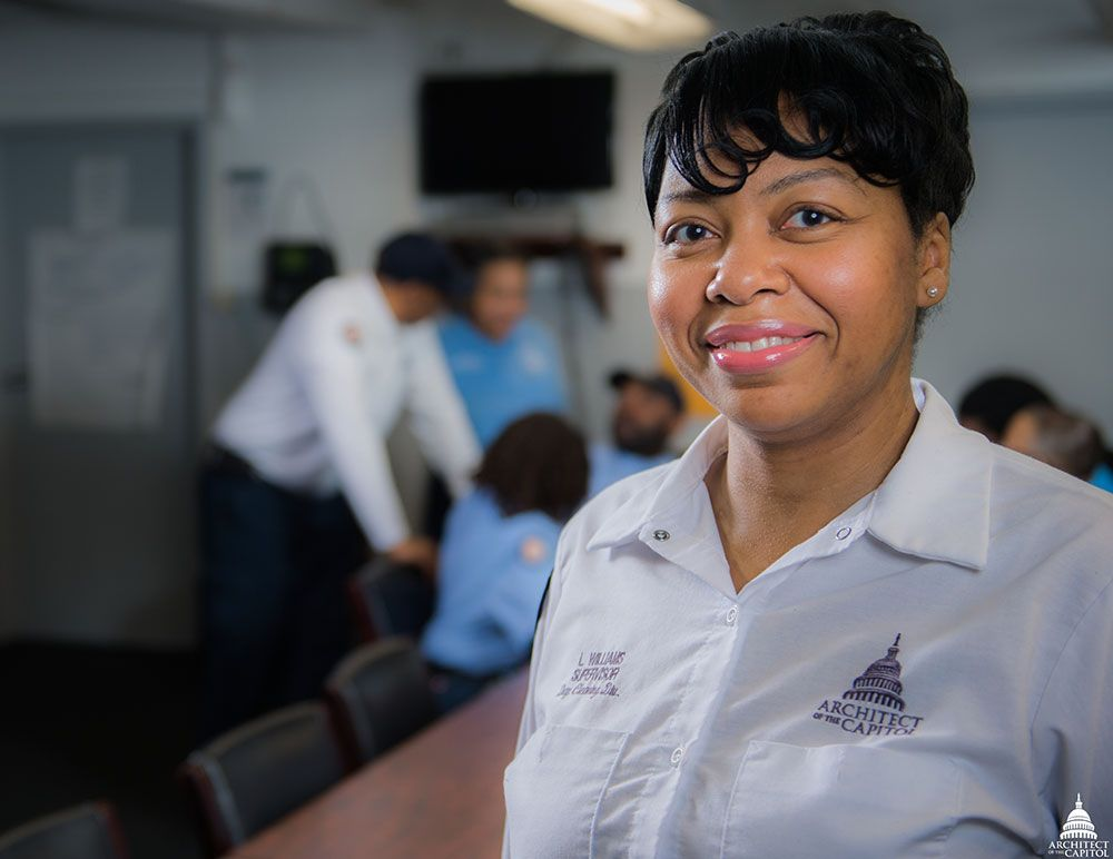 AOC's LaTisha Williams, custodial worker supervisor in the House Office Buildings Day Cleaning division.