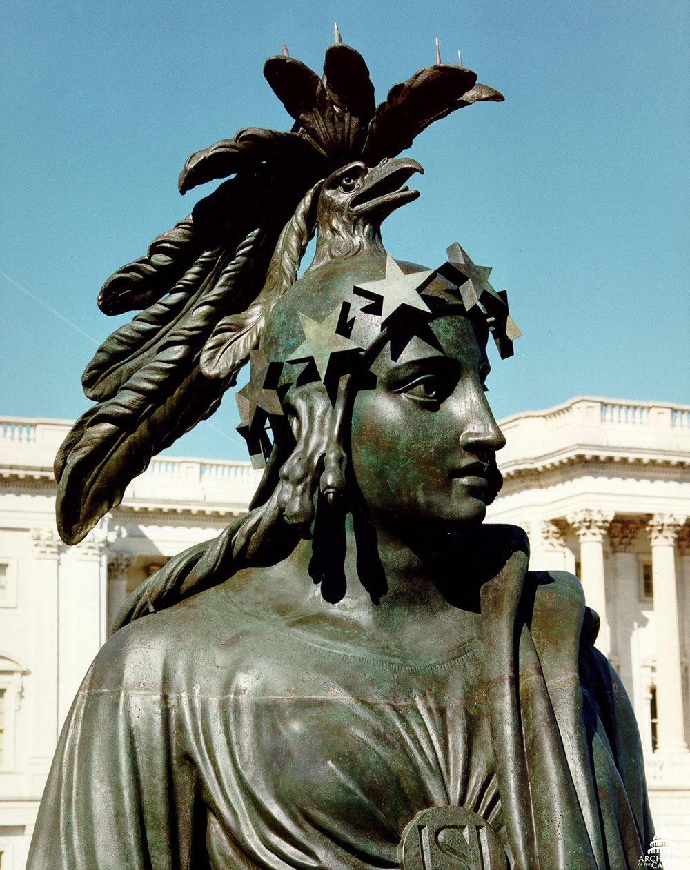 Close-up detail photo with Statue of Freedom during conservation in 1993.