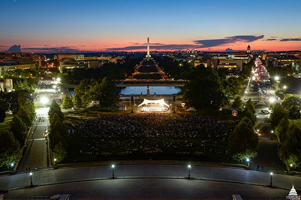 View of the Labor Day Concert on the U.S. Capitol West Front Lawn during sunset.