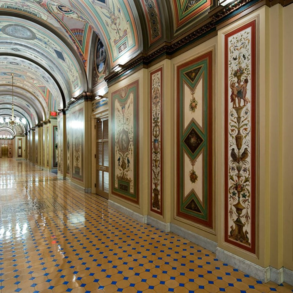 The Brumidi Corridors of the U.S. Capitol after conservation.