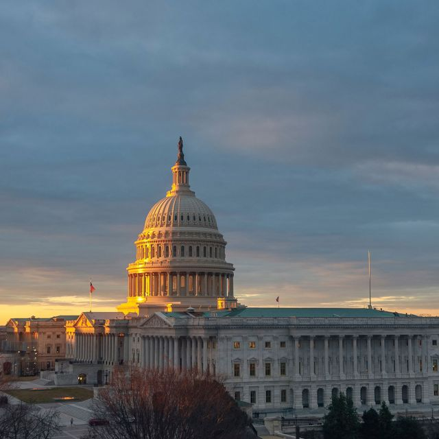 View of the U.S. Capitol during Sunrise in January 2019.
