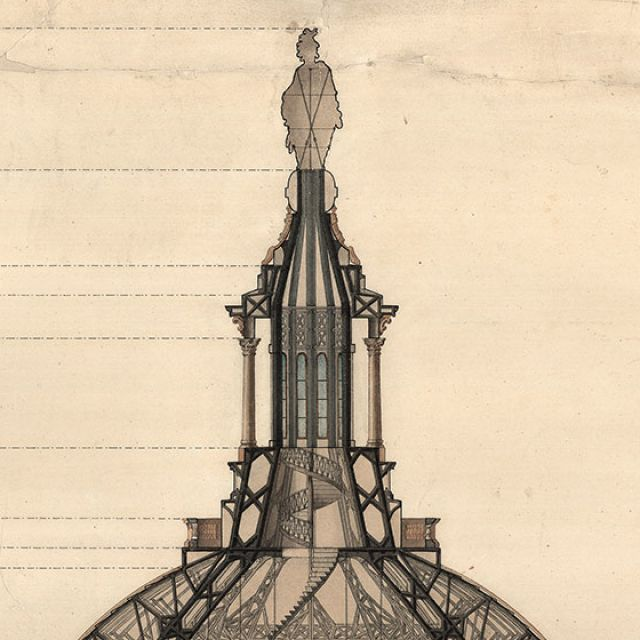Section, Revised Dome Design for U.S. Capitol. Pen, Ink and watercolor by Thomas U. Walter, 1859.