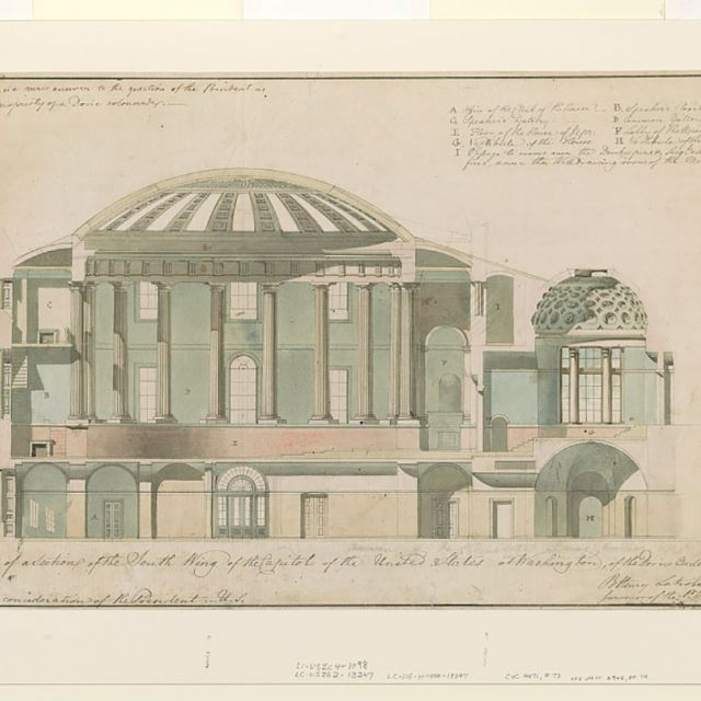 United States Capitol, Washington, D.C. Section of south wing, 1800s drawing by Benjamin Henry Latrobe. Retrieved from the Library of Congress.