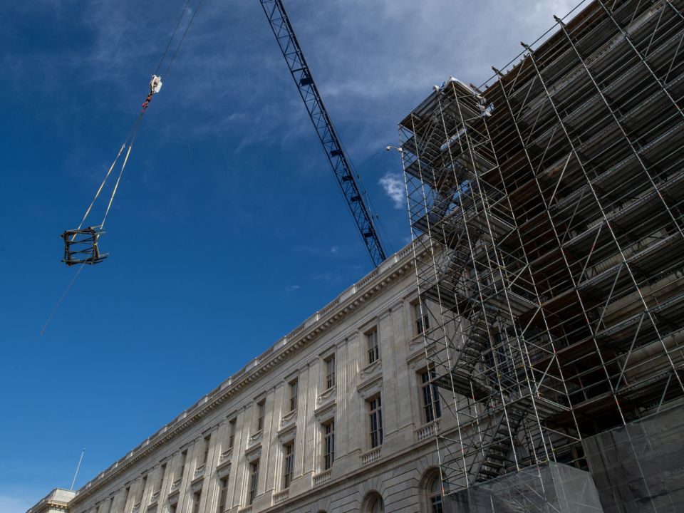 Construction work continues in the Cannon Building's west wing.