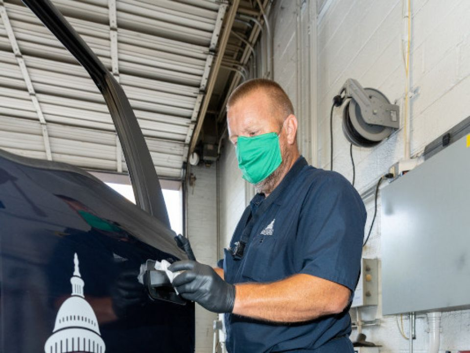 Frank Bussler completes the COVID-19 cleaning protocols for AOC vehicles.