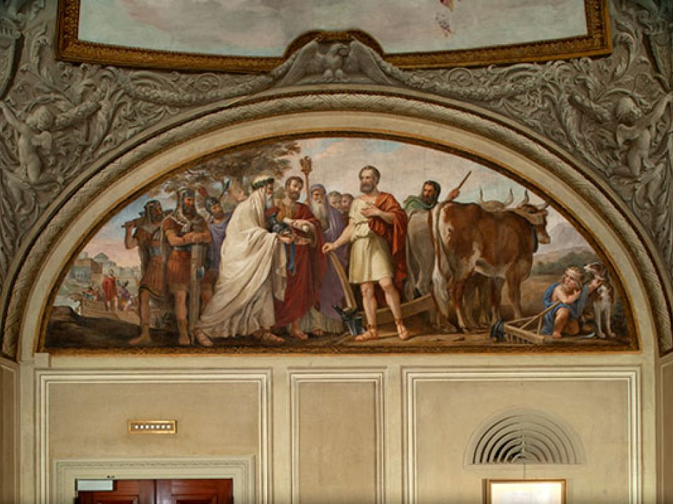 """Calling of Cincinnatus from the Plow"" is the first fresco by Constantino Brumidi in the U.S. Capitol."