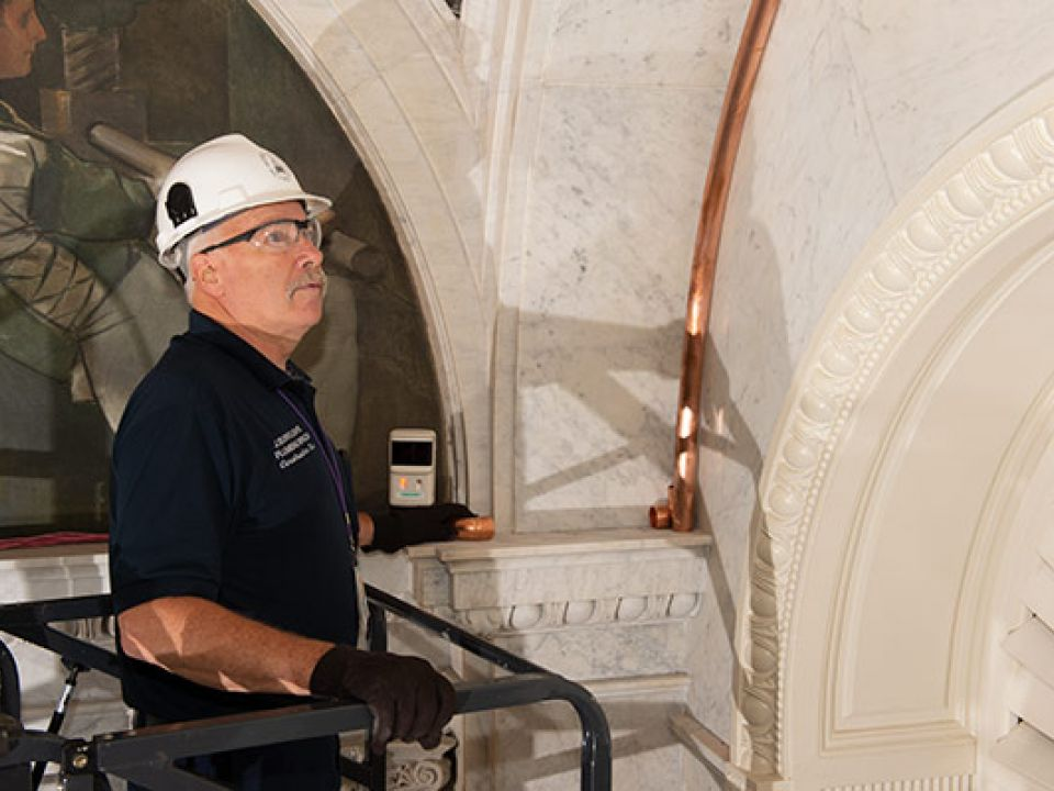AOC Plumbing crew member in the Library of Congress Thomas Jefferson Building.