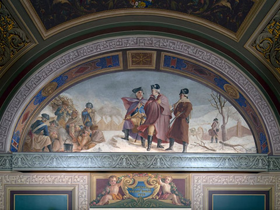Detail of lunette in U.S. Capitol room S-128 depicting Washington at Valley Forge, 1778.