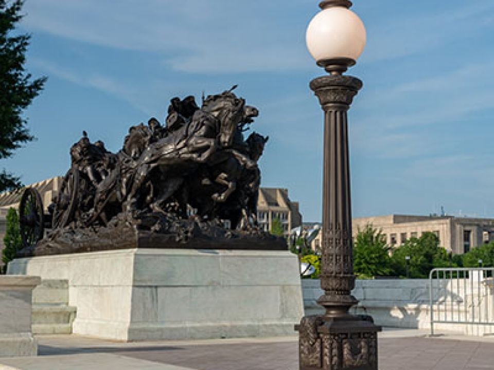 Replica bronze lamp post installed at the Grant Memorial in Washington, D.C.