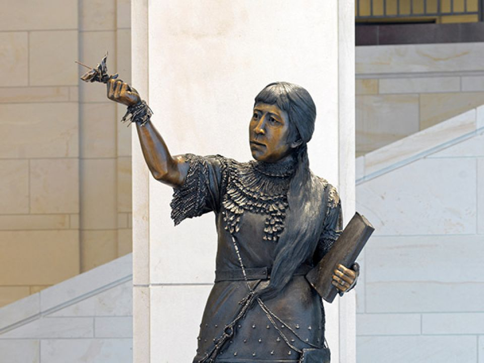 Bronze statue of Sarah Winnemucca in the U.S. Capitol Visitor Center.