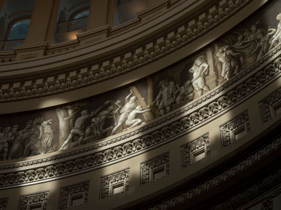 A portion of the Frieze of American History as seen in the Rotunda of the U.S. Capitol.
