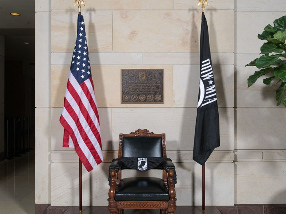 The POW/MIA Chair of Honor in the U.S. Capitol Visitor Center's Emancipation Hall.