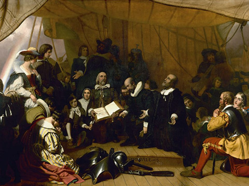 "Historic ""Embarkation of the Pilgrims"" painting in the U.S. Capitol Rotunda."