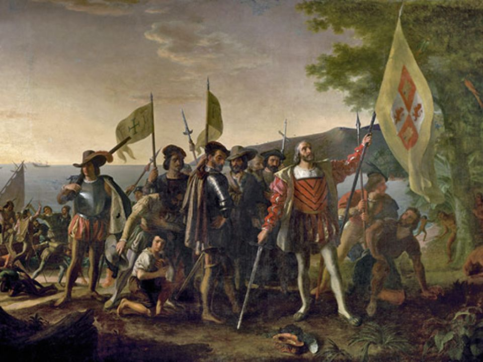 "Historic ""Landing of Columbus"" painting in the U.S. Capitol Rotunda."
