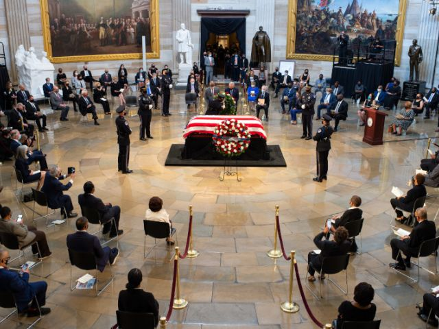 A small funeral for Representative Lewis was held in the Rotunda, with social distancing measures in place.