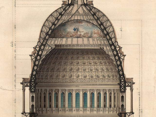 Rotunda Section, Revised Dome Design for U.S. Capitol. Pen, Ink and watercolor by Thomas U. Walter, 1859.