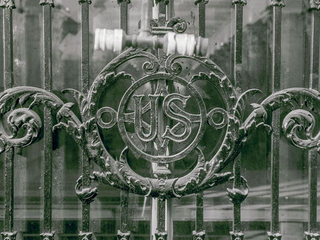 Detail of grill work above exterior doors at the U.S. Capitol's south House carriage entrance.