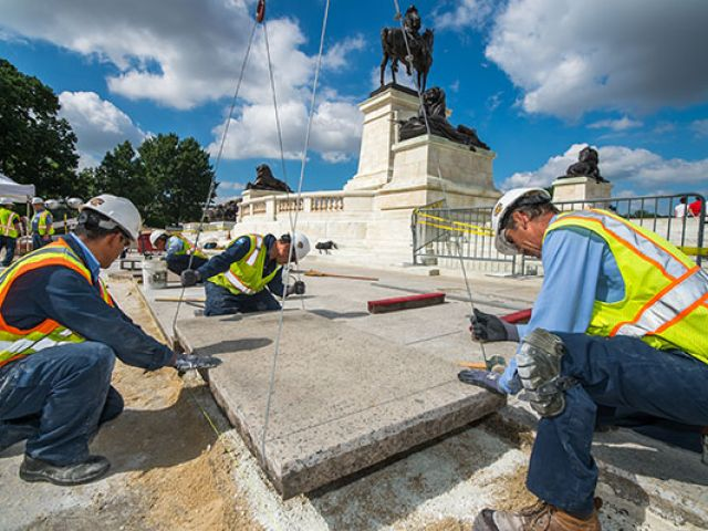 Ulysses S. Grant Memorial stone restoration in progress.