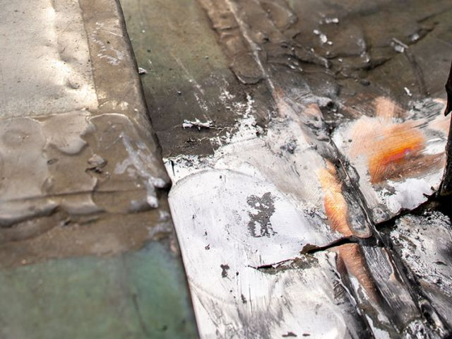 Conditions of the U.S. Capitol's copper roof before replacement.