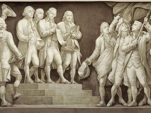 """Declaration of Independence"" scene from the Frieze of American History found in the U.S. Capitol Rotunda."