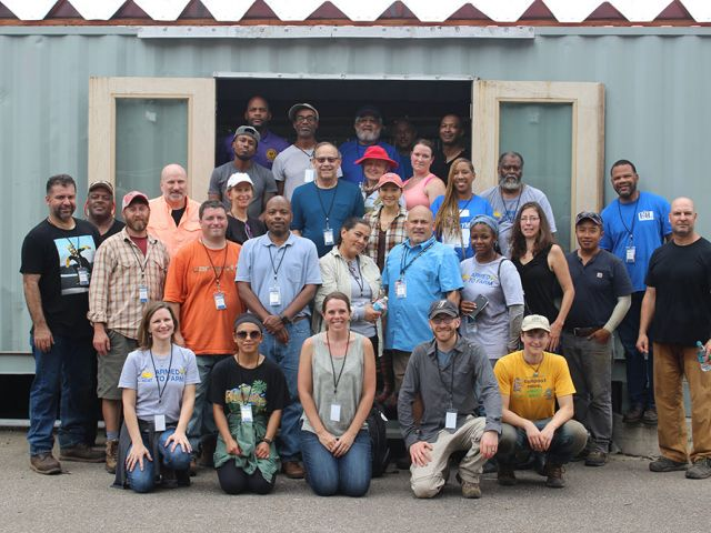Participants and instructors after lunch at Eco City Farm.