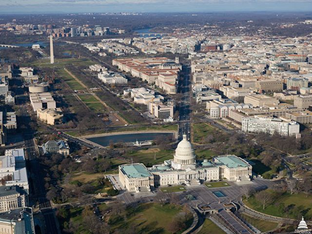 View of the U.S. Capitol Campus, the National Mall and Washington Monument.