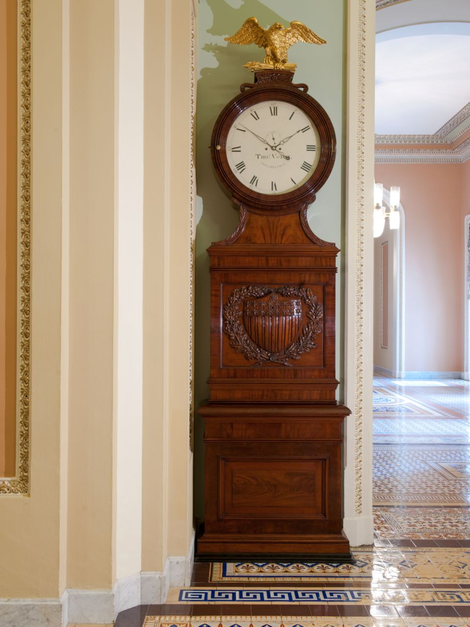 "The Voigt clock in the U.S. Capitol, also known as the ""Ohio clock."""