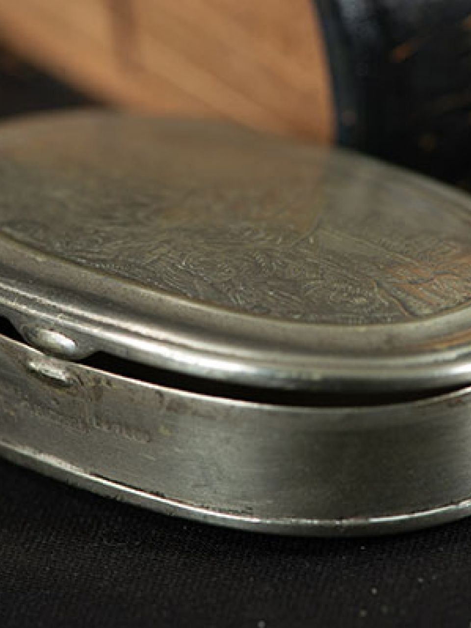 This nickel-plated oval box once belonged to Constantino Brumidi.